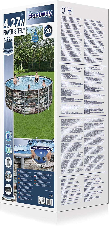 Multicolor mit Filterpumpe Bestway Power Steel Framepool Komplett-Set rund Sicherheitsleiter und Abdeckplane 549 x 132 cm Pool