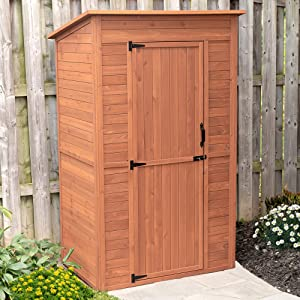 Leisure Season DSS8721 Deep Storage Shed with Drop Table - Brown - Tall Outdoor Wooden Box Lockers for Lawn, Garden, Backyard, Porch - 2 Interior Shelves for Supplies, Tools - Weatherproof Organizer