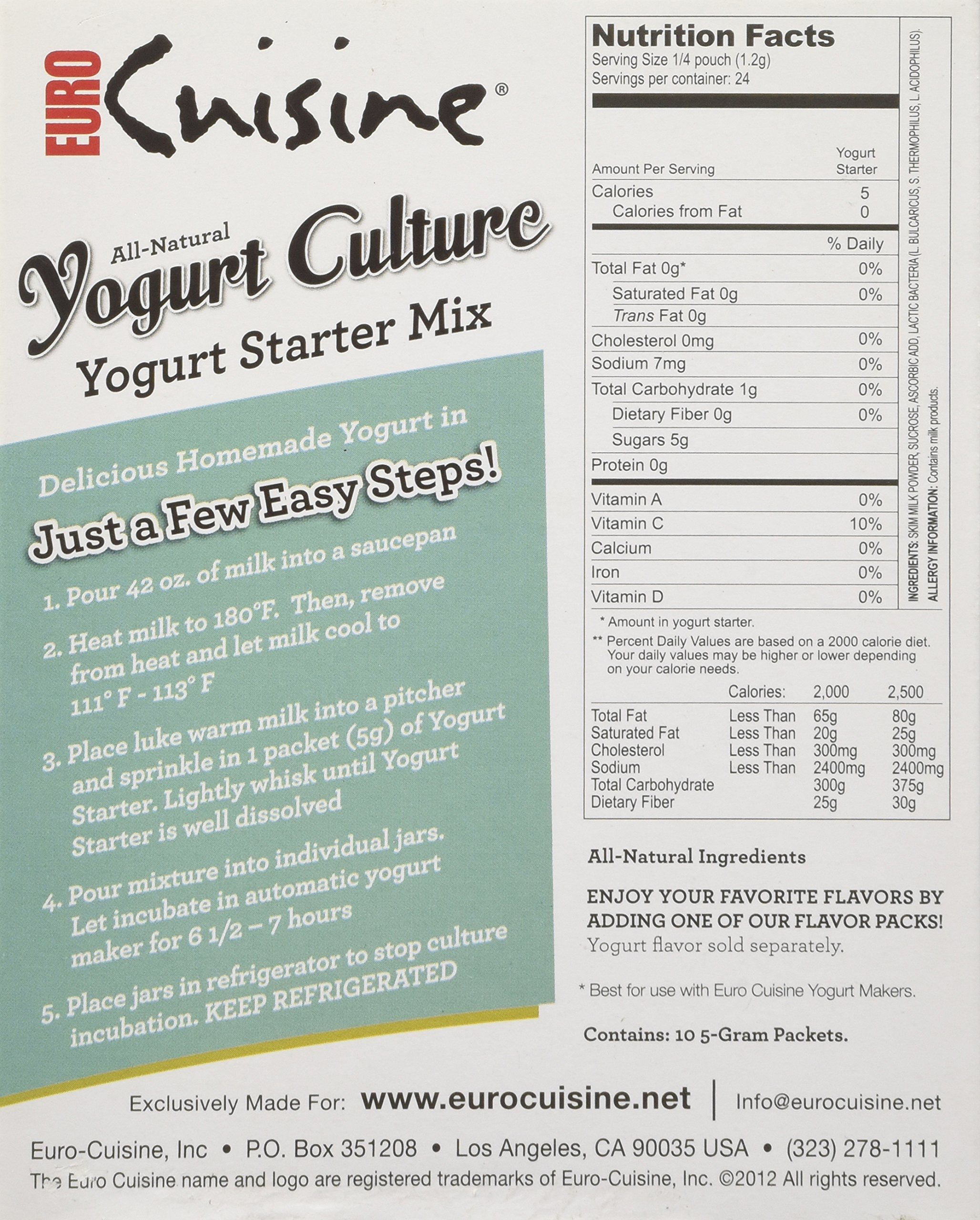 Euro Cuisine RI1020 All Natural Yogurt Culture / Starter ( Contains 10 - 5gr Packet) by Euro Cuisine (Image #5)