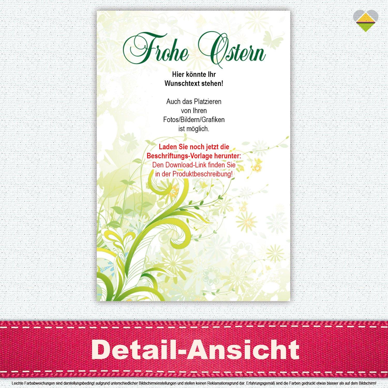 Flaschen-Etikett | Frohe Ostern – Motiv: Ranken Blüten ...