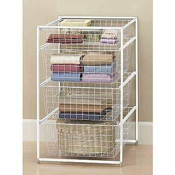 Freestanding Closet Storage 4 Baskets Drawer In White Finish 17.8u0026quot;W ...
