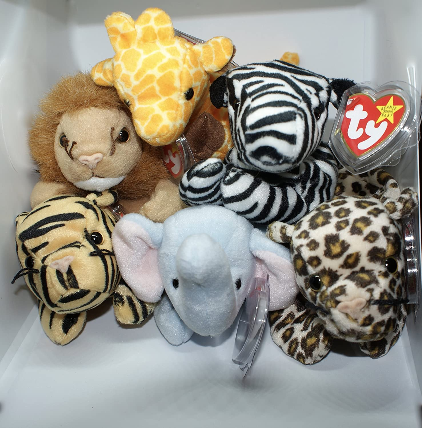 Amazon Com The Jungle Animal Stuffed Toy Collection Set Of 6 Ty