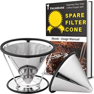 Vagabeans Paperless Pour Over Coffee Maker Set with Spare Coffee Filter Cone - Single Cup Coffee Maker for 1-4 Cups of Pourover Coffee-2nd Stainless Steel Metal Pour Over Coffee Dripper Cone Included