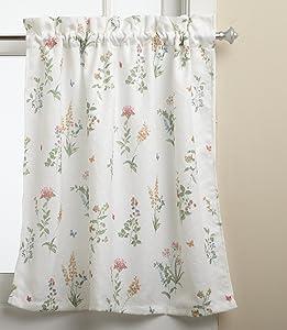LORRAINE HOME FASHIONS English Garden 55-inch x 24-inch Tier Curtain Pair, White/Multi