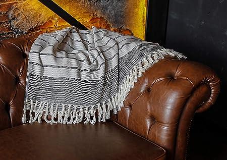 for Chair Couch Boho Farmhouse Rustic Decor Turkish Towel Ultra-Soft 40/'/Ä/ùx71/'/Ä/ù Black White Grey Evil Eye Peshtemal Beach Bath Spa Sauna Gym Yoga Picnic Luxury Throw Blanket with Fringe 100/% Cotton