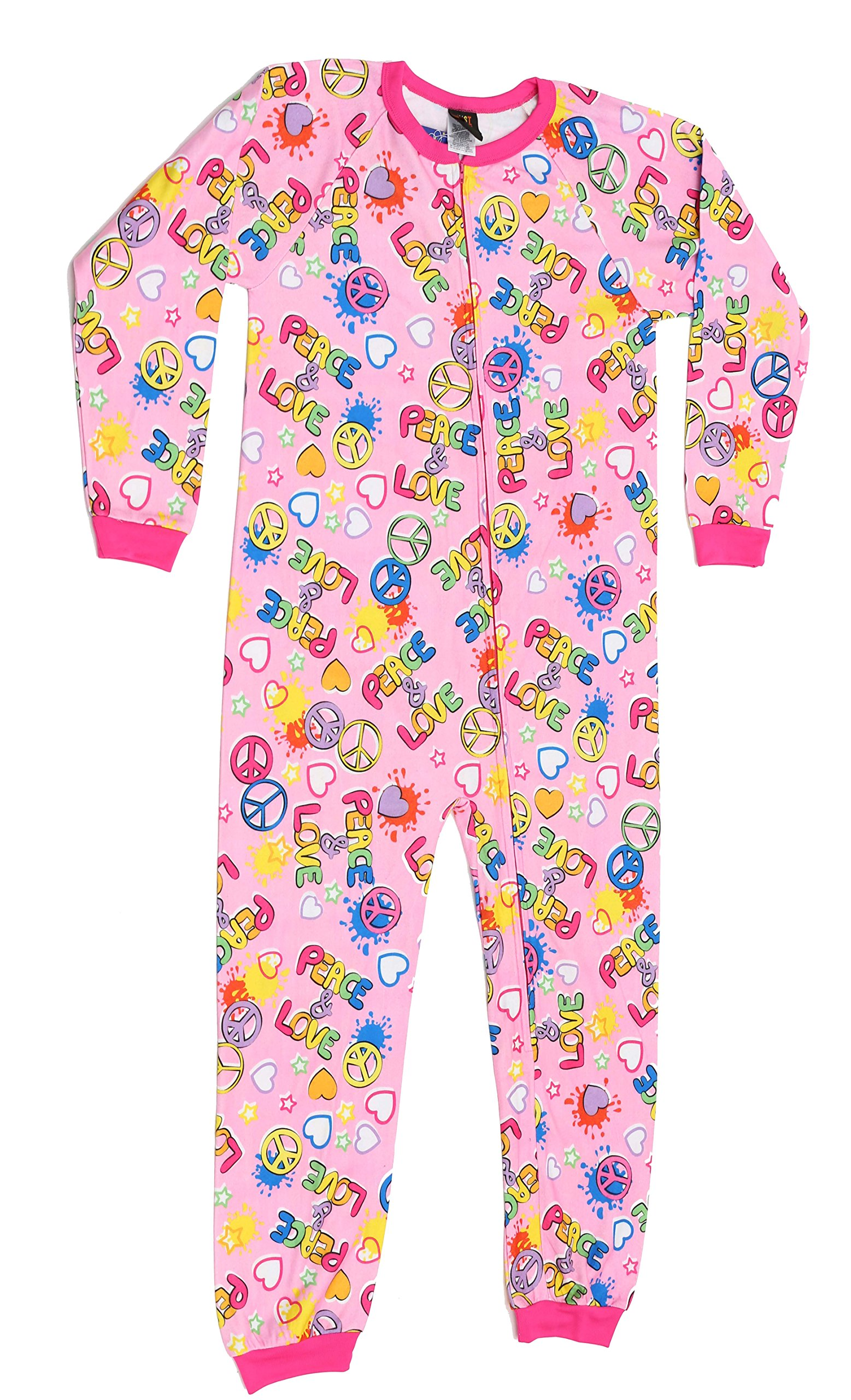 Just Love Printed Flannel Blanket Sleepers Peace Love Girls' 10-12 by Just Love (Image #2)