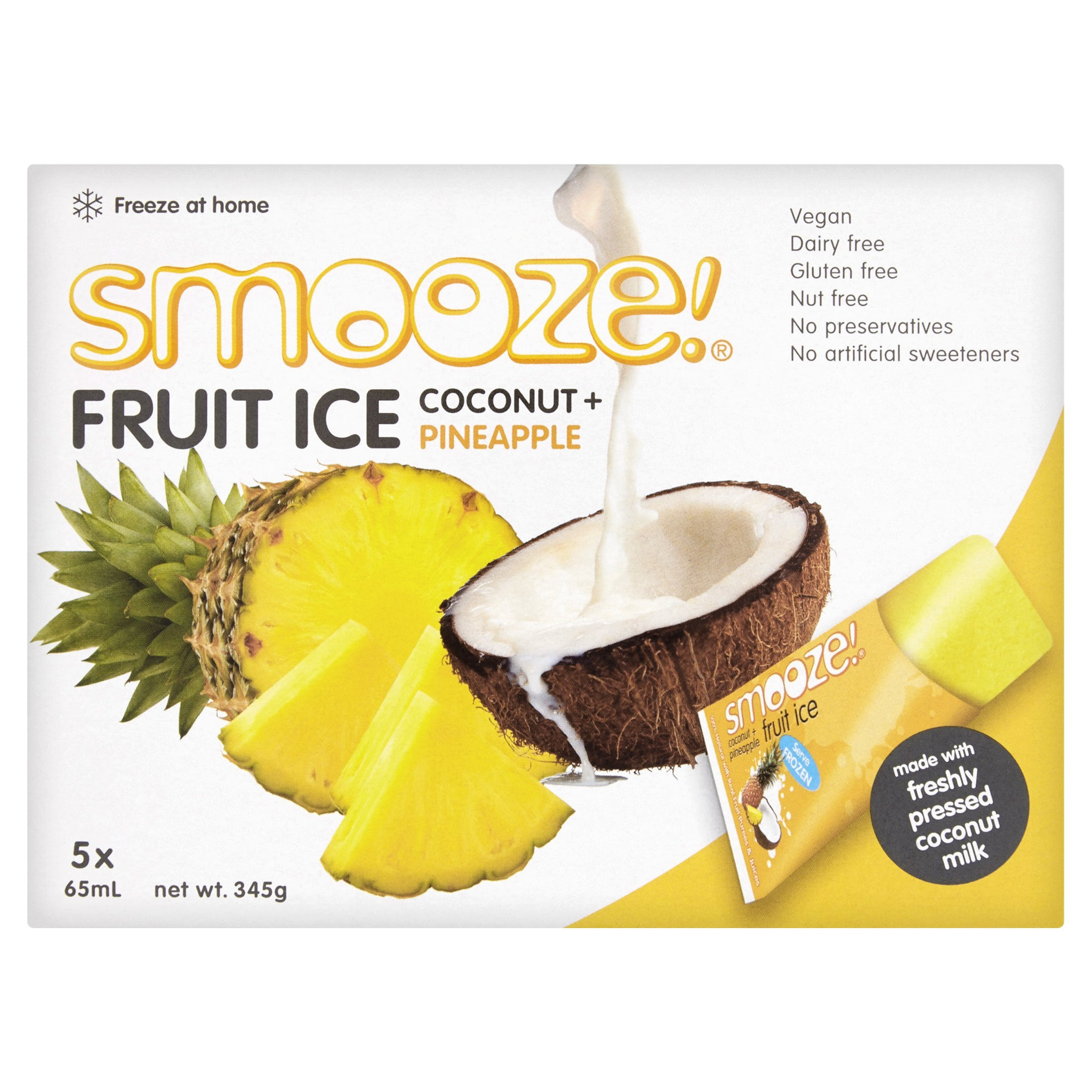 Smooze Pineapple Fruit Ice Lollies 5 x 65ml - Pack of 6