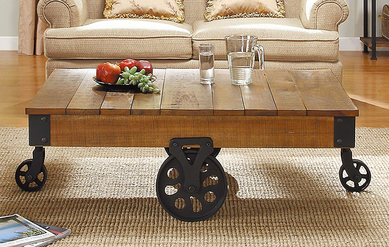 Amazon.com: Homelegance Factory Modern Industrial Style Coffee Table,  Rustic Brown: Kitchen & Dining - Amazon.com: Homelegance Factory Modern Industrial Style Coffee