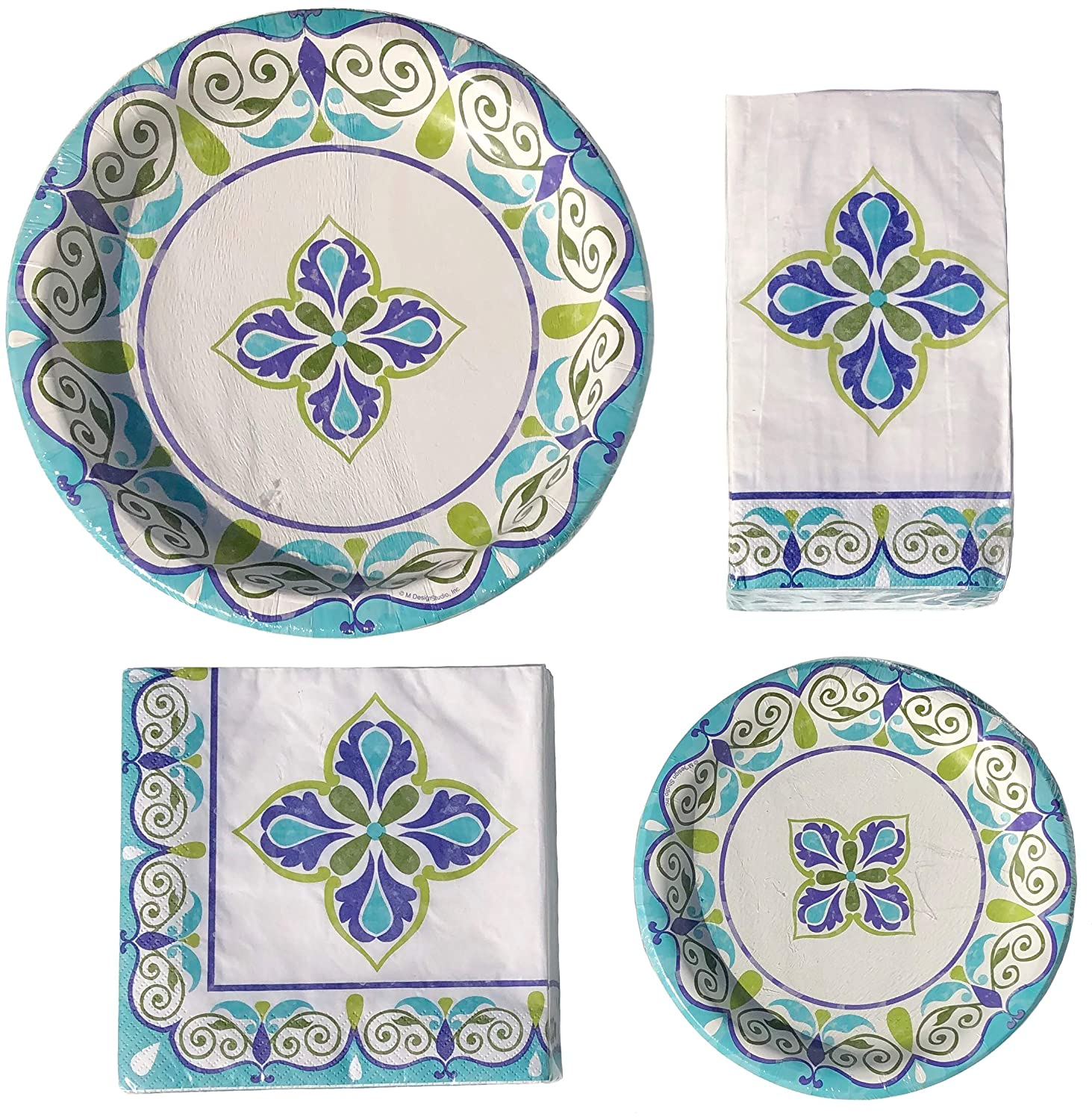 8096 36 each of Luncheon Napkins /& Guest Towels Creative Converting Floral Swirls Paper Party Bundle: 18 Dessert//Salad Plates 18 Lg Dinner Plates
