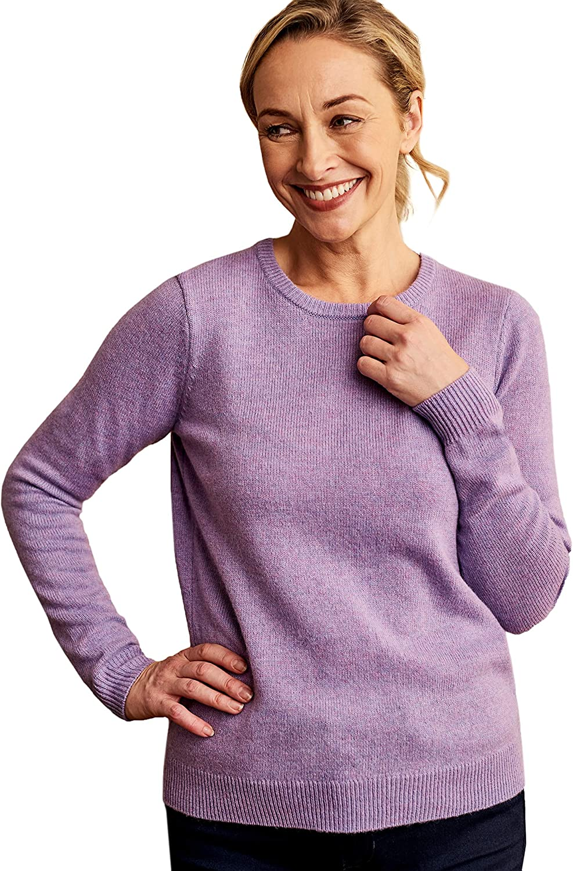 Woolovers Womens Lambswool Crew Neck Sweater Cozy Comfort XS Petunia Marl