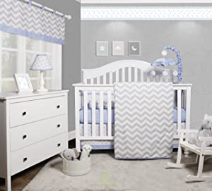 GEENNY OptimaBaby Blue Grey Chevron 6 Piece Baby Nursery Crib Bedding Set