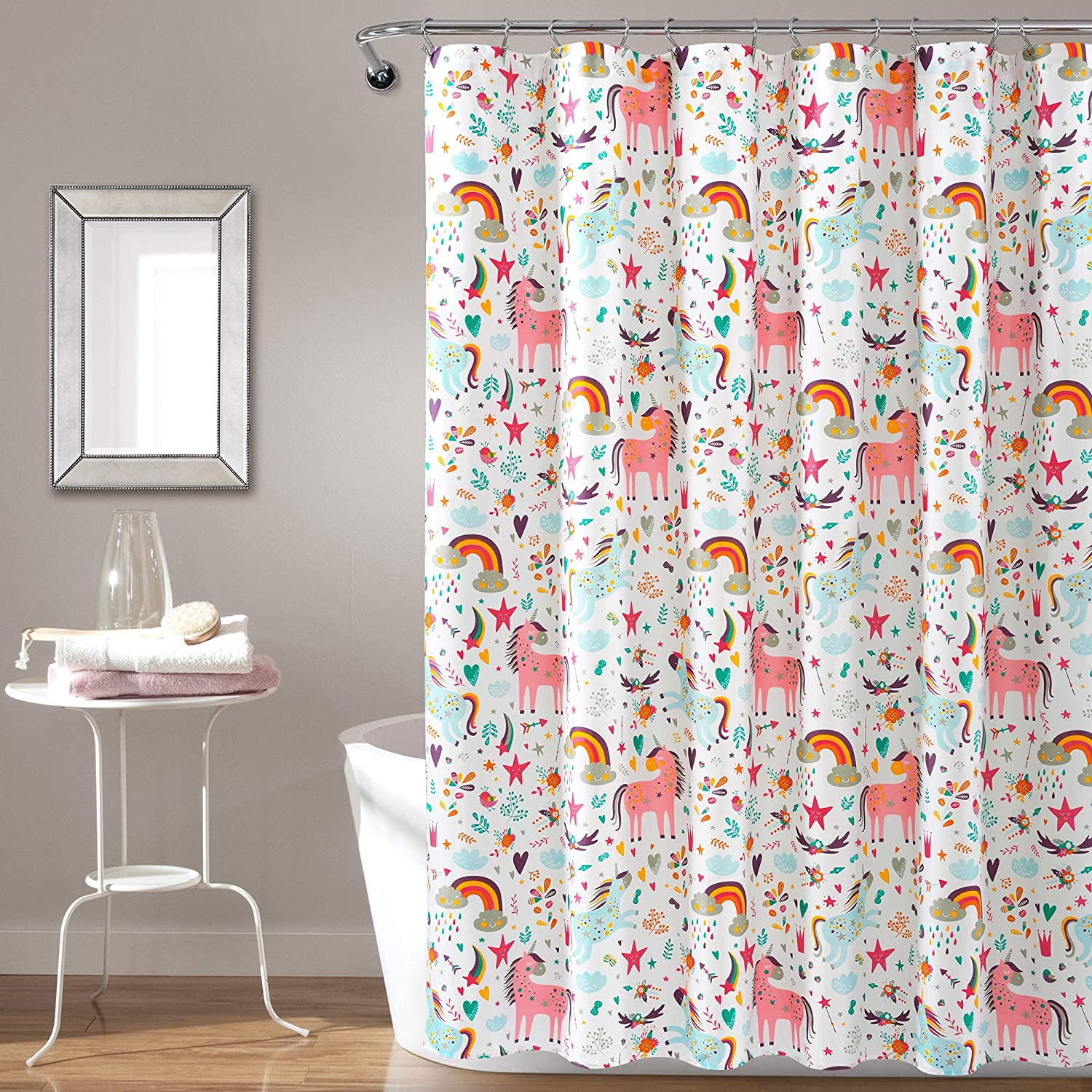 Amazon Com Pb J Unicorn Heart Shower Curtain White Multi Single 72x72 Home Kitchen