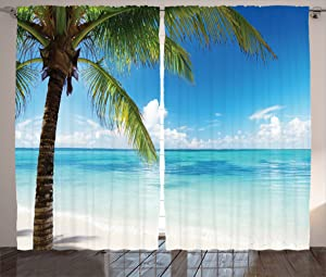 Ambesonne Ocean Curtains, Exotic Beach Water and Palm Tree by The Shore with Clear Sky Landscape Image, Living Room Bedroom Window Drapes 2 Panel Set, 108 W X 90 L inches, Green White