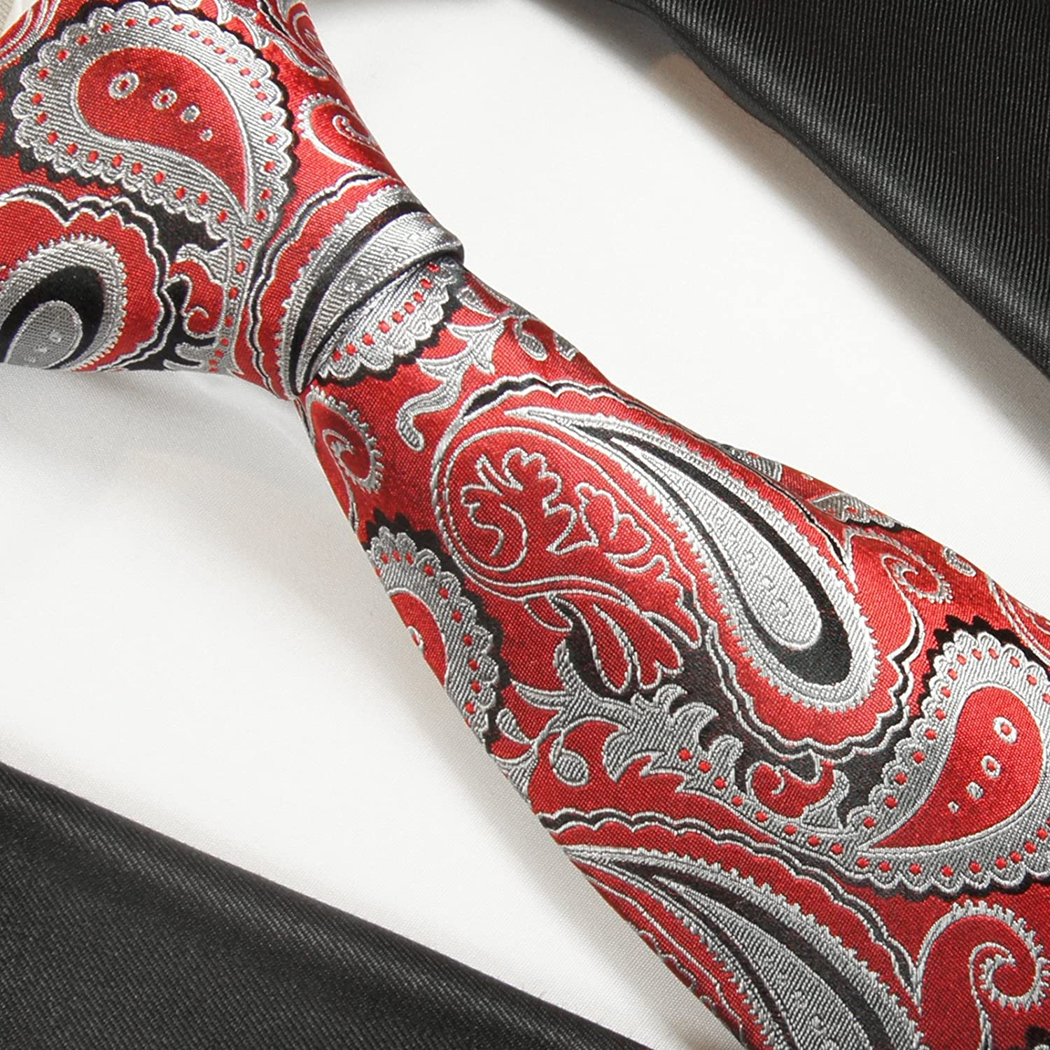 Extra Long Paul Malone Silk Tie and Accessories Red and Grey