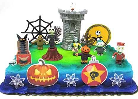 Amazon Com Nightmare Before Christmas 17 Piece Birthday Cake Topper Set Featuring 2 To 3 Cake Topper Figures Of Lock Shock Zero Jack Skellington Sally Barrel And Other Decorative Themed Accessories Toys