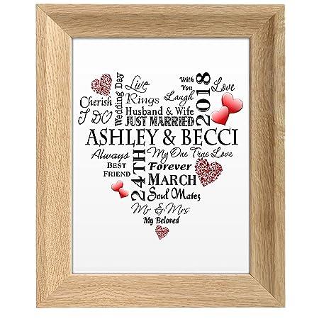 MissyJulia Ltd Wedding Print Personalised Word Art Gift Marriage ...