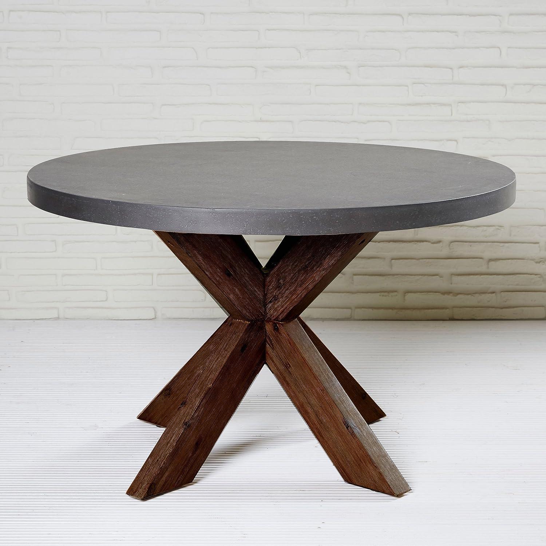 Wholesaler GmbH Esstisch rund 36 cm Tisch grau Polystone Akazie