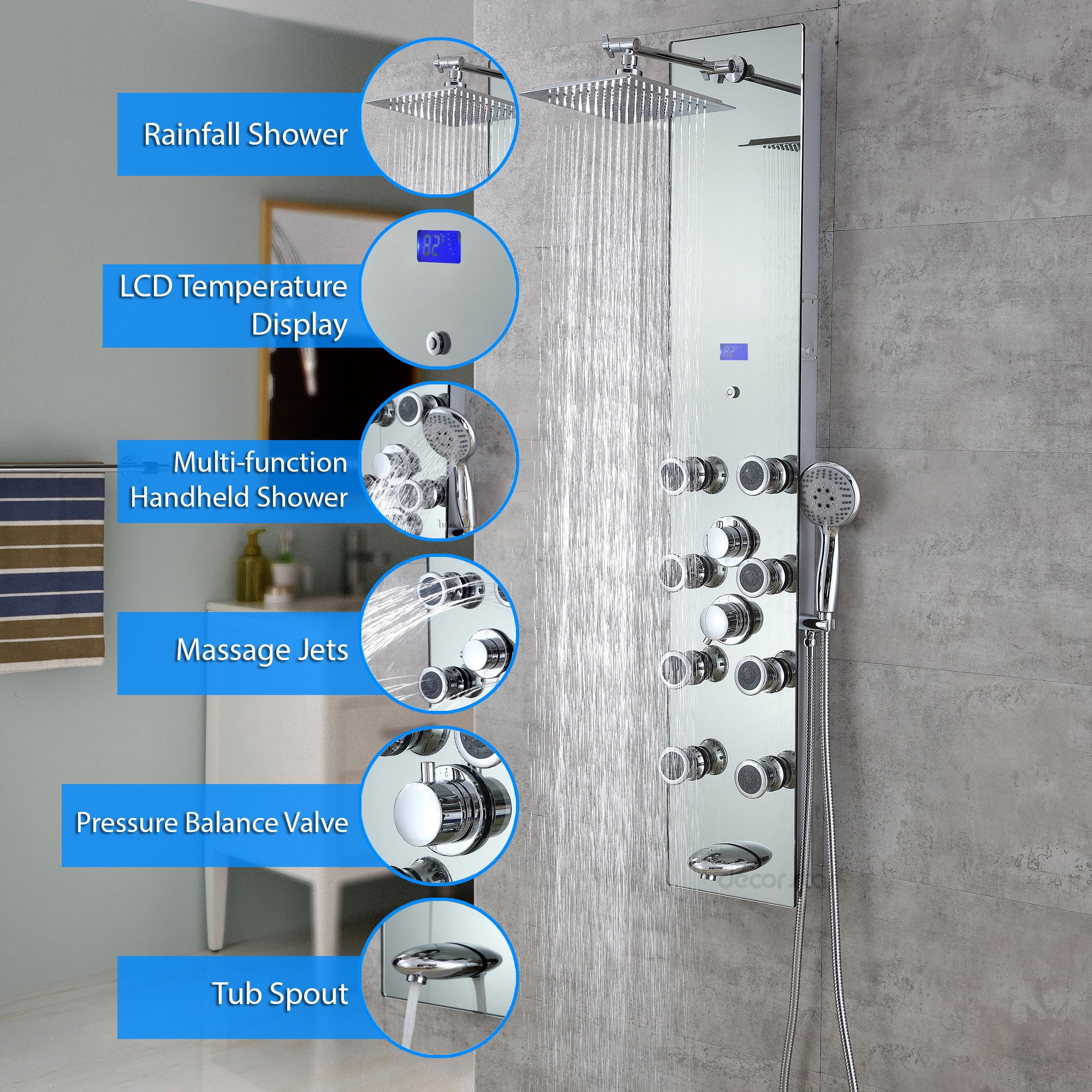 Decor Star 027-GS-SLR 51'' Aluminum Safety Silver Tempered Glass Rainfall Shower Panel Rain Massage System with Jets & Hand Shower
