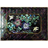 Desktop Business Card Holder Wood Box Mother of Pearl Inlay Apricot Flower Bird