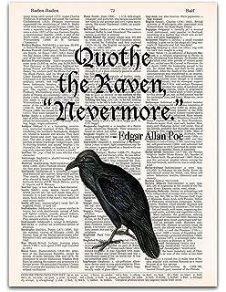Amazon.com: Edgar Allan Poe The Raven Black Wood Framed Art ...