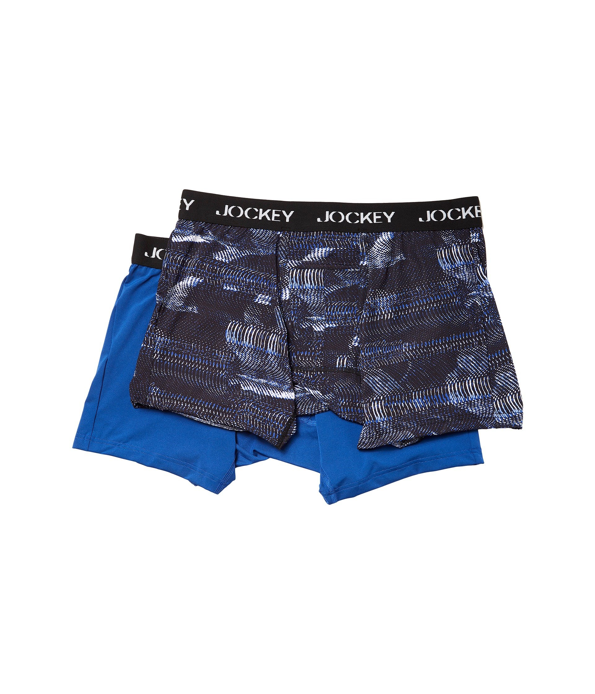Jockey Men's Microfiber Performance Boxer Brief 2-Pack Digital Vibe Blue/Medium Blue Medium