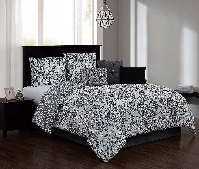 Geneva Home Fashion Kadia Comforter Set Queen Black/Grey