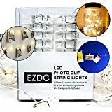 EZDC New Model 2-IN-1 Photo Clip String Lights, 20 LED String Lights for Bedroom, Fairy Lights, Photo Lights with Clips for Pictures + Attachable Photo Clips (6.5 Ft, Battery Operated, Warm White)