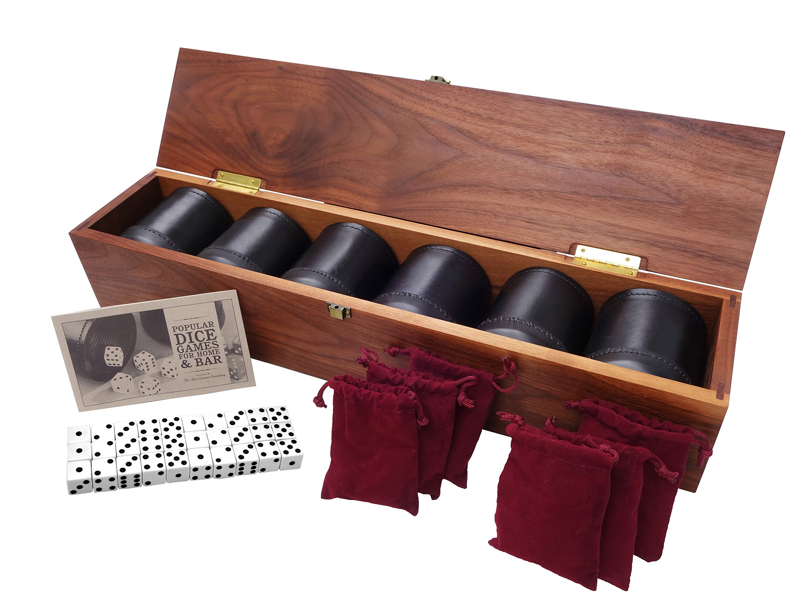 Golden Gate Dice Cup Set of Six in Walnut Presentation Case Includes Thirty Tuxedo Dice and a Book of Dice Games by Alex Cramer Company