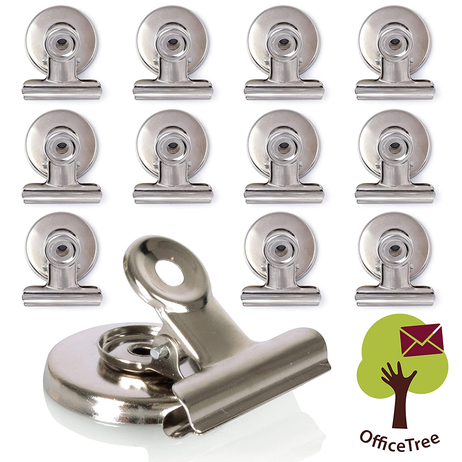 37 x 28 x 30 mm Silver Magnetic Board and pinboard with Anti-Scratch Adhesive Extra Strong Adhesion to whiteboard OfficeTree 12 Magnetic Clips Neodymium