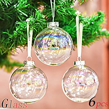 46f5f5deeee Valery Madelyn 6 Piezas 6cm Bolas de Navidad de Cristal Arco Iris  Transparente