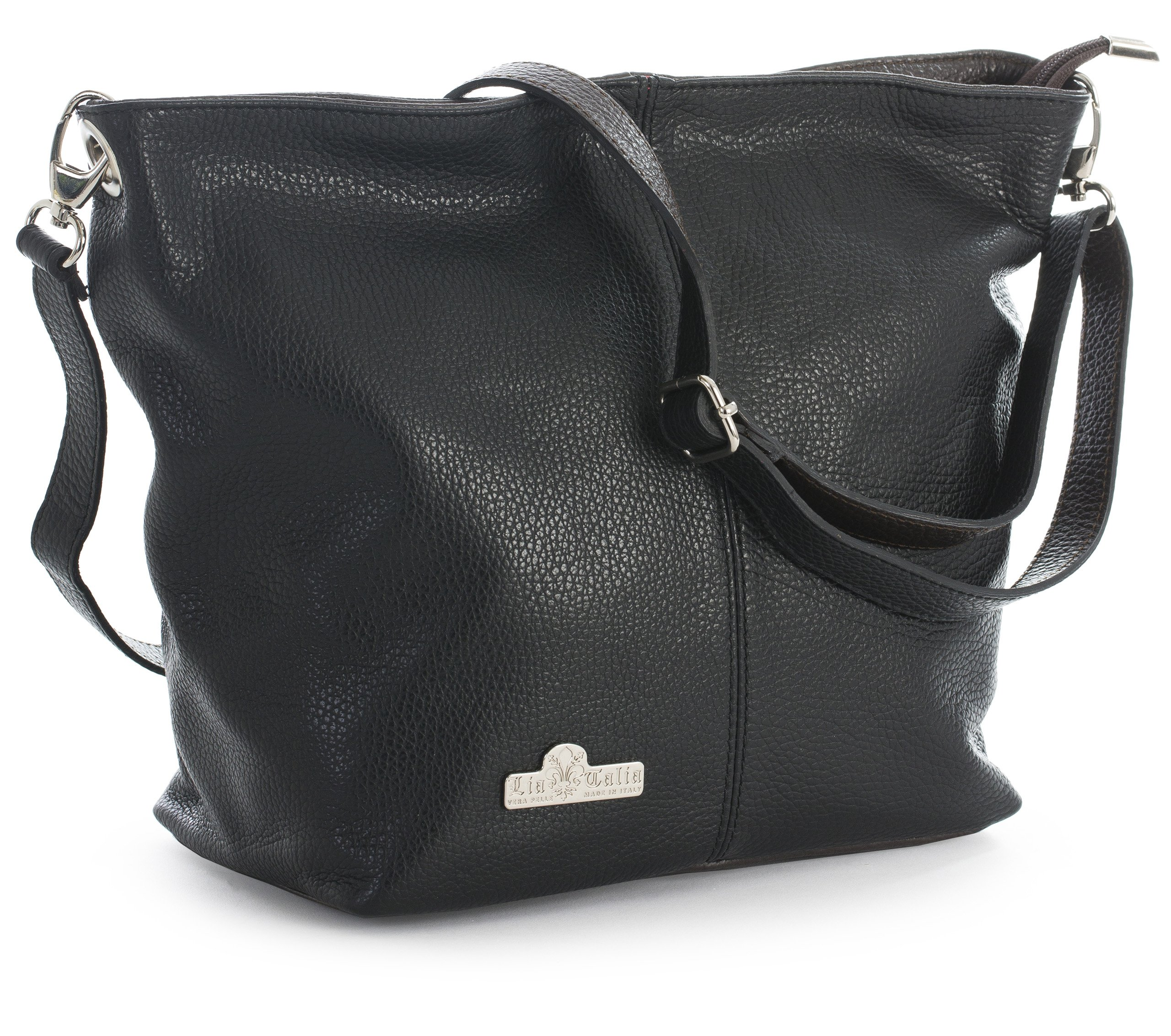 LiaTalia Womens Genuine Italian Leather Medium Hobo Shoulder Bag with Protective Storage Bag - Adal [Black & Coffee Trim]