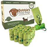 Bobbie's Poop Bags - 240 Count Biodegradable Leak Proof Dog Waste Bags with Dispenser and Clip