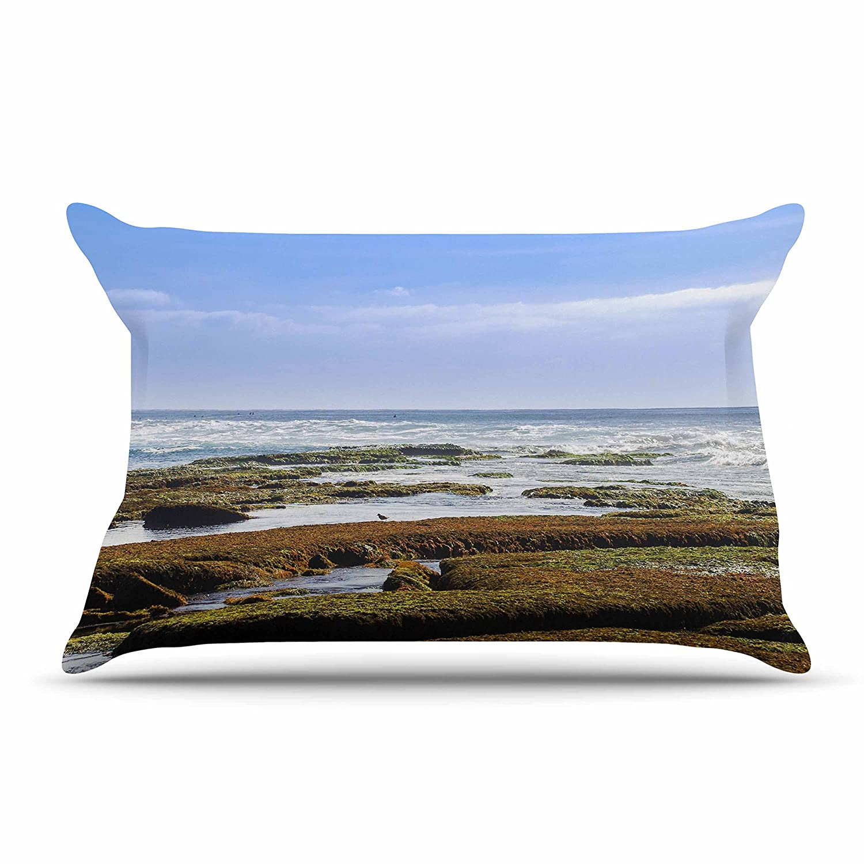 40 x 20 Pillow Sham Kess InHouse Nick Nareshni Low Tide Reef Blue Orange Photography