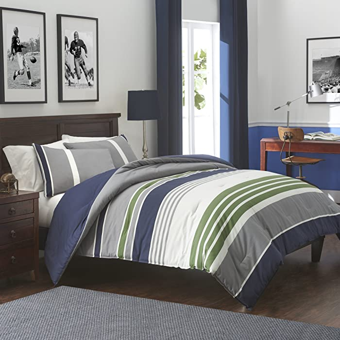 IZOD Liam Comforter Set, Cotton, Indigo, Full/Queen, 3 Piece Comforter & Shams