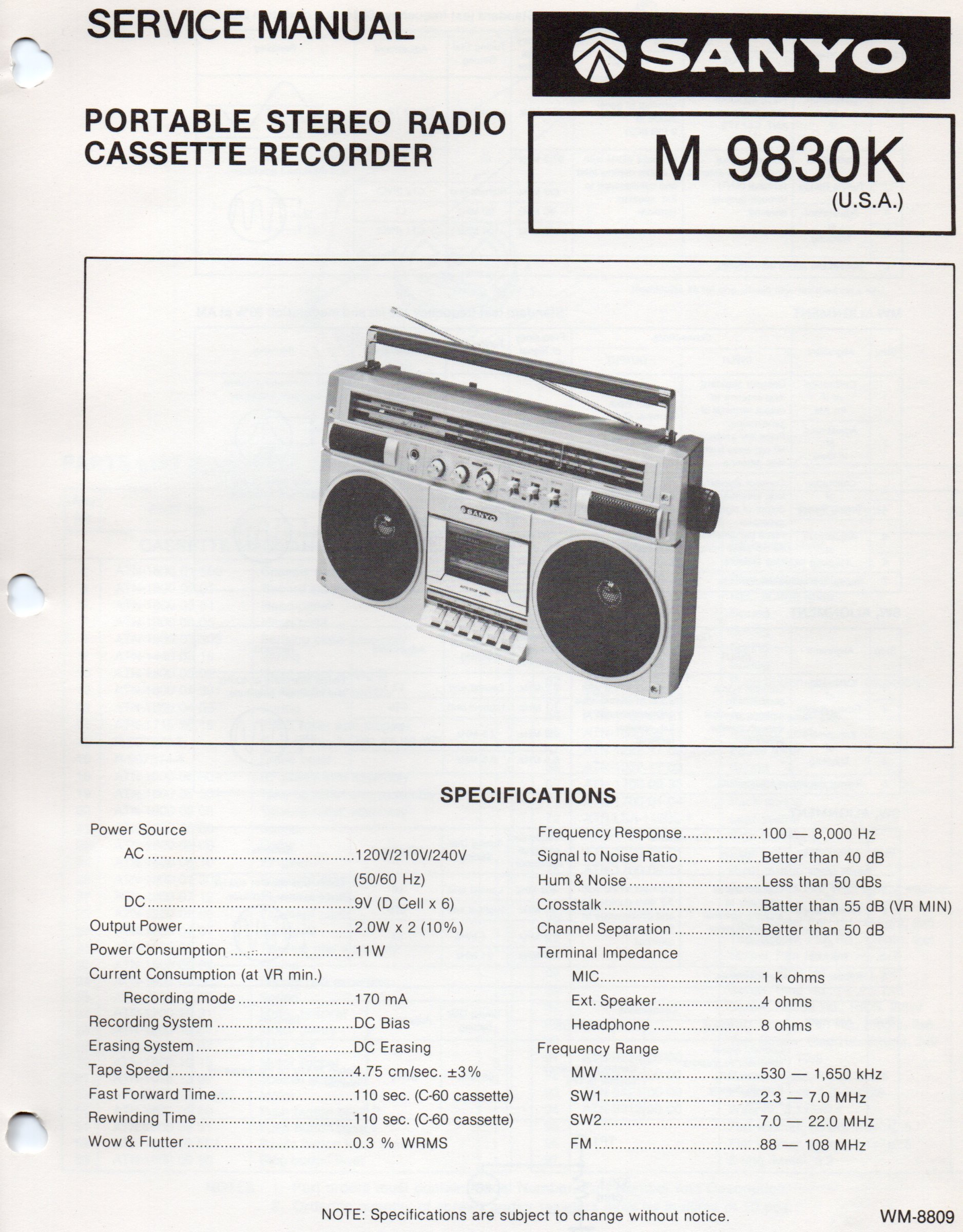 service manual for sanyo m9830k portable stereo radio cassette rh amazon com Electric Golf Cart Repair Manual Golf Cart Schematics or Diagrams
