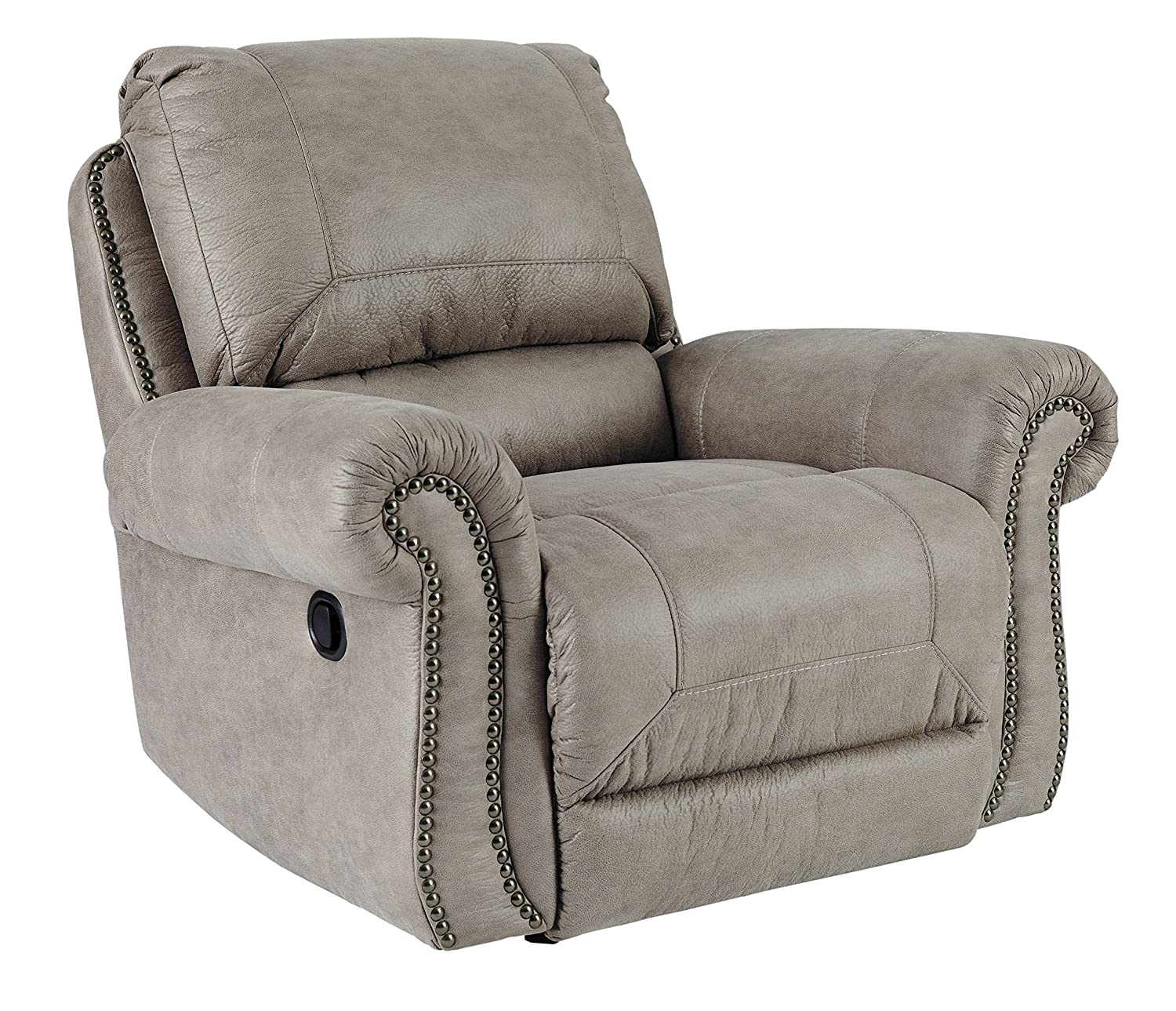 Amazon com ashley furniture signature design olsberg traditional rocker recliner with nailhead trim pull tab reclining steel kitchen dining