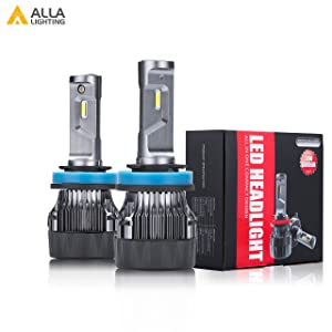 ALLA Lighting S-HCR Newest H9 H8 H11 LED Headlight Bulbs 10000Lms Extreme Super Bright LED H11 Headlight Bulbs Conversion Kits Cool White All-in-One H11 LED Headlamp Replacement