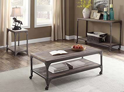 Exceptionnel Acme Furniture 81445 Gorden Coffee Table, Weathered Oak U0026 Antique Silver