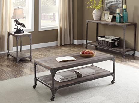 ACME Furniture 81445 Gorden Coffee Table, Weathered Oak & Antique Silver - Amazon.com: ACME Furniture 81445 Gorden Coffee Table, Weathered