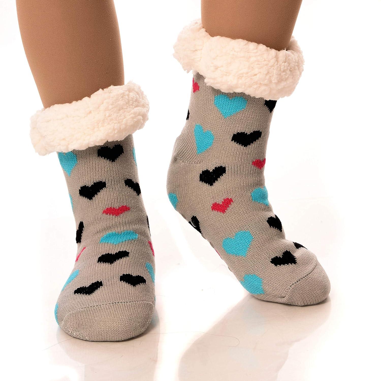 50ccf7d29 DEBRA WEITZNER Slipper Socks for Women Men Gripper Cozy Socks Winter Socks  Black Hearts  Amazon.com.au  Fashion