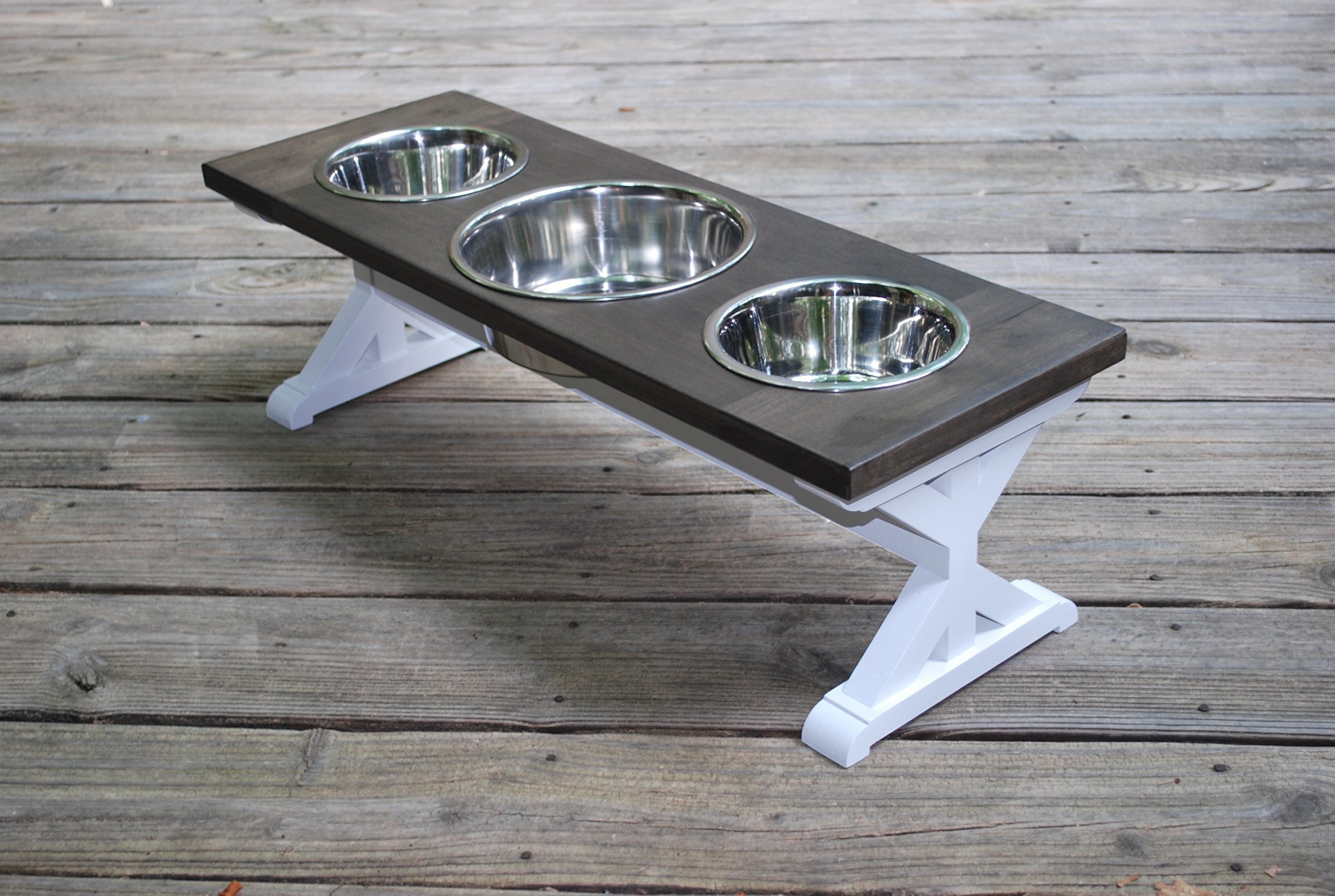 Medium Three Bowl Farmhouse Dog Bowl Stand by BillsCustomBuilds