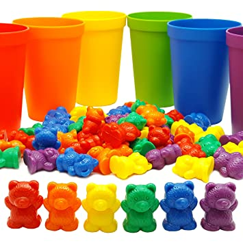 Amazon.com: 60 Rainbow Counting Bears with 6 Color Matching ...