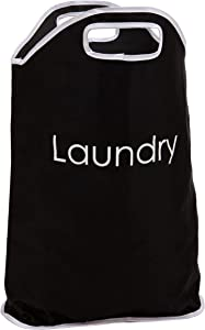Maturi H002 Polyester Laundry Bag with White Writing and Integrated Handles, 19 23-Inch, Inch Inch, Black