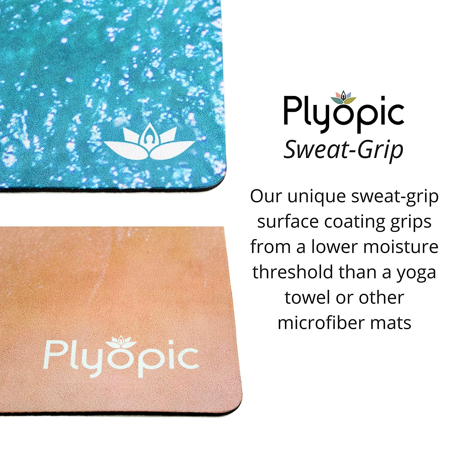 Workout Best for Yoga Luxury Sweat-Grip Mat//Towel Combo Exercise Bikram and Hot Yoga Plyopic All-in-One Yoga Mat Eco-Friendly Natural Rubber Pilates