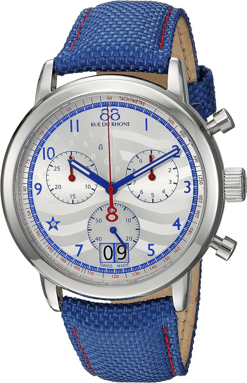 88 Rue du Rhone Men's Double 8 Origin Stainless Steel Swiss-Quartz Watch with Leather Strap, Blue, 0.8 (Model: 87WA154506)