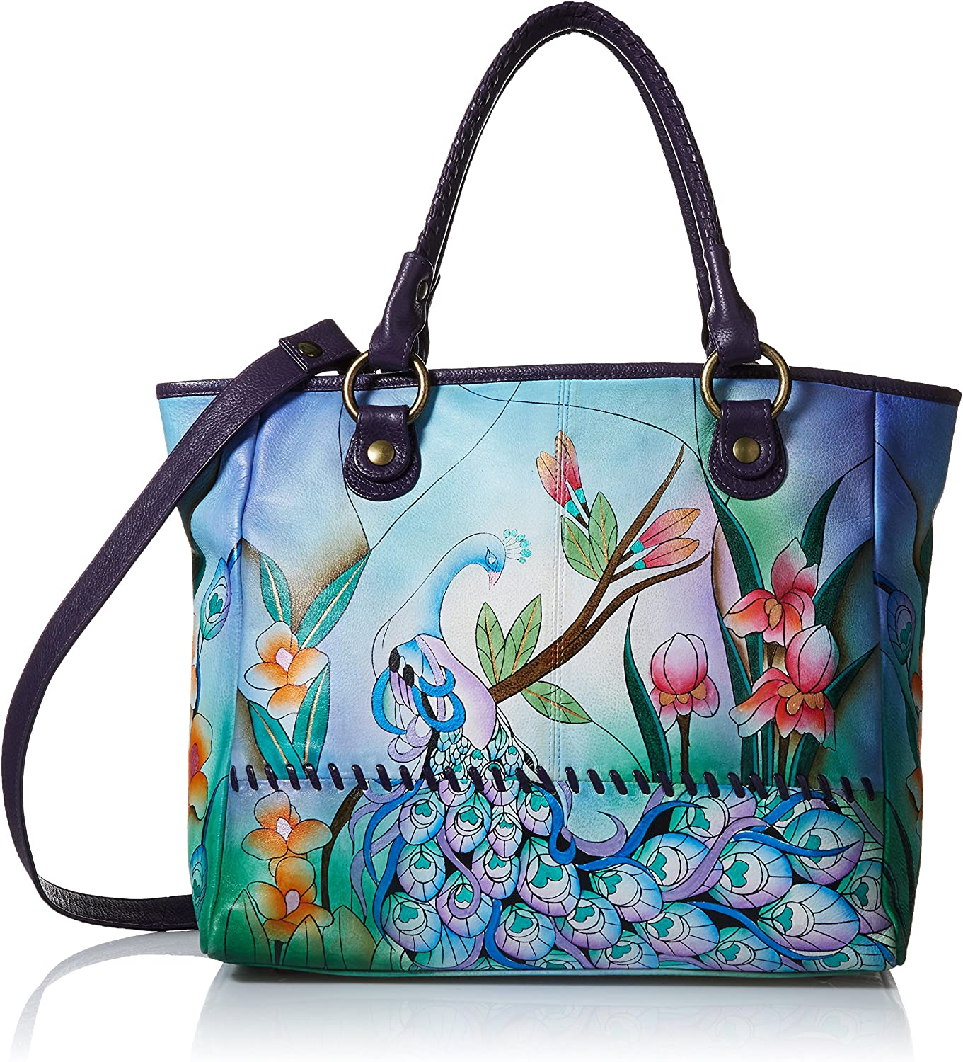 Anna by Anuschka Women's Genuine Leather Large Classic Tote Bag | Hand Painted Original Artwork