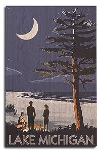 Lantern Press Lake Michigan - Bonfire at Night Scene (10x15 Wood Wall Sign, Wall Decor Ready to Hang)