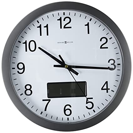 Howard Miller Optimum Chronicle Wall Clock With LCD Inset, 14u0026quot;, Gray  (625195