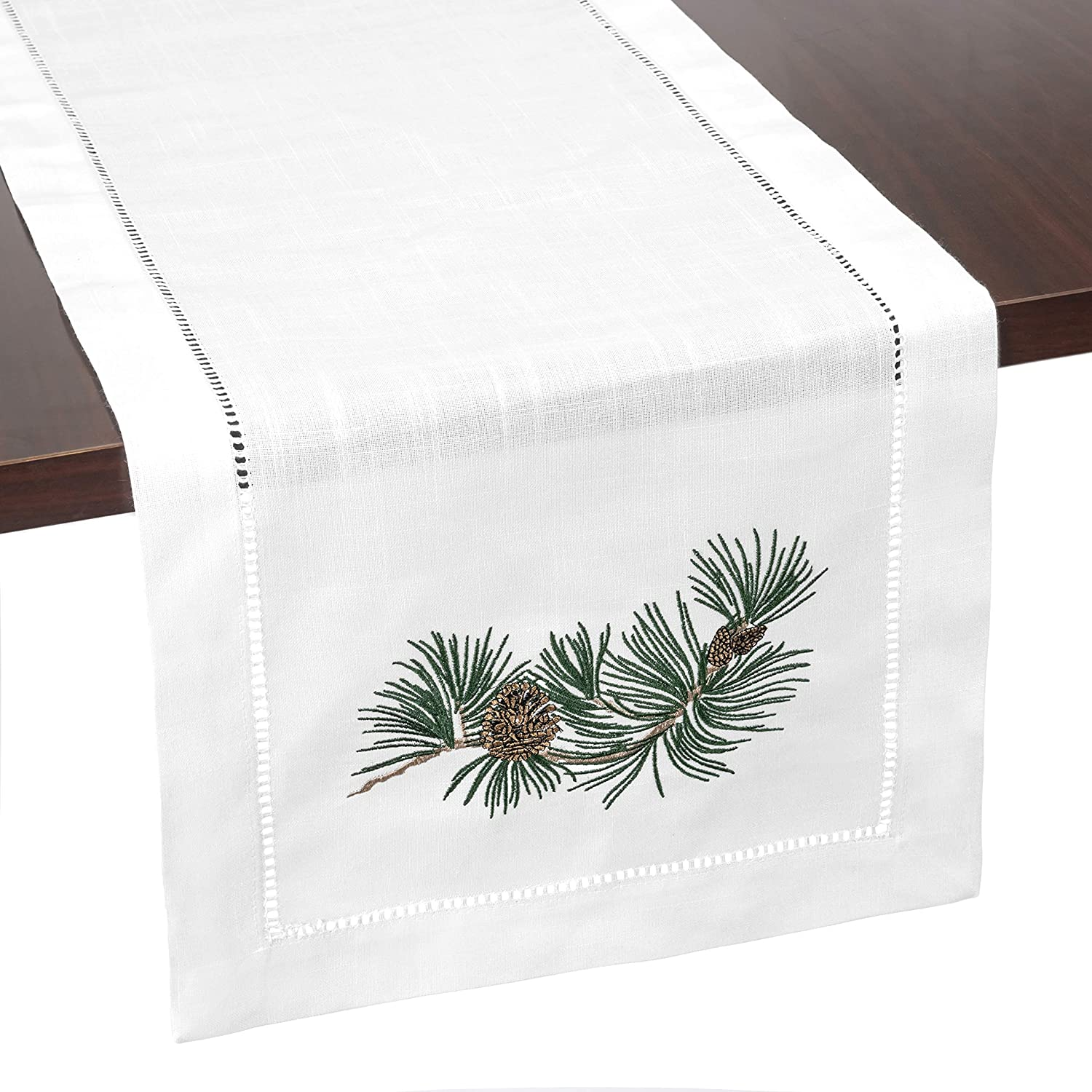 Brio Trends Hemstitch Table Runner with Embroidered Holiday Pine Cones Rustic Farmhouse Home Decor for Fall Winter Christmas or Thanksgiving | White 14 x 112 inch
