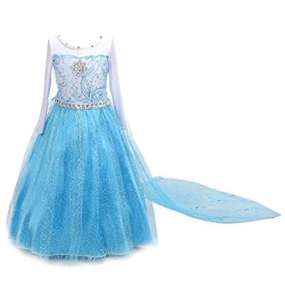 Dressy Daisy Girls' Ice Princess Costume Dresses Birthday Halloween Christmas Fancy Party Outfit Long Fixed Train Size 6: Toys & Games